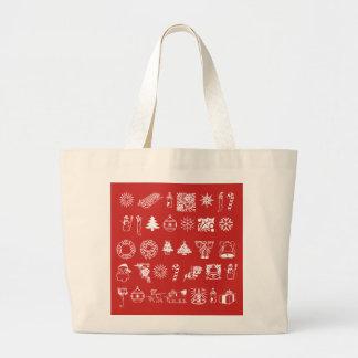 Bolsa Tote Grande Símbolos do feriado do Natal mim sacola