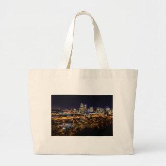 Bolsa Tote Grande Skyline de Pittsburgh na noite