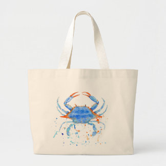 Bolsa Tote Grande Splatter da pintura do caranguejo azul da aguarela