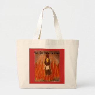 Bolsa Tote Grande Sua esperança dentro da arte das chamas