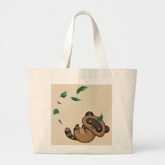 Bolsa Tote Grande Tanuki e folhas