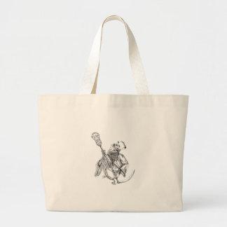 Bolsa Tote Grande Tatuagem de Pólo da defesa do Lacrosse do Ceifador
