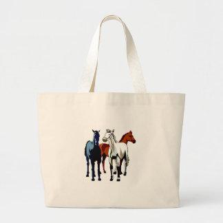 Bolsa Tote Grande Tema colorido dos cavalos do trio do cavalo