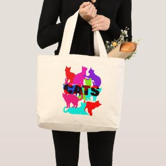 Bolsa Tote Grande Temático felino colorido dos amantes do gato