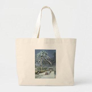 Bolsa Tote Grande Templo de Honmonji na neve - 川瀬巴水 de Kawase Hasui