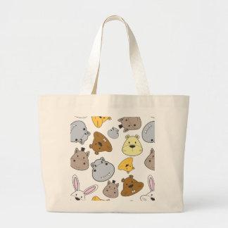 Bolsa Tote Grande Teste padrão bonito do retrato dos animais dos