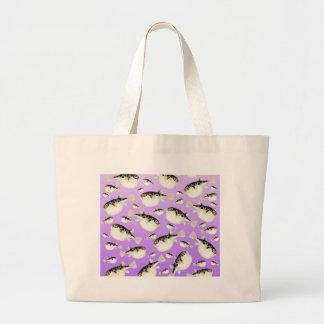 Bolsa Tote Grande Teste padrão do roxo dos peixes do soprador