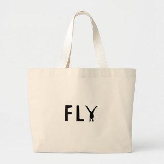 Bolsa Tote Grande Texto engraçado da mosca e design humano
