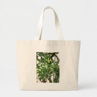 Bolsa Tote Grande Tiros de bambu e folhas verdes
