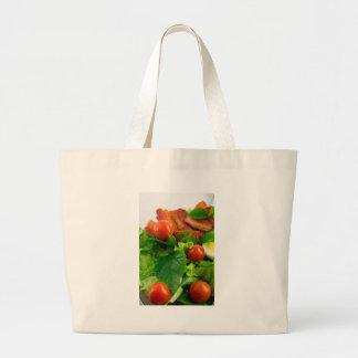 Bolsa Tote Grande Tomates de cereja, ervas, azeite, ovos e bacon