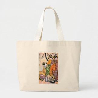 Bolsa Tote Grande Trabalhos de arte japoneses da gueixa do vintage