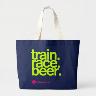 Bolsa Tote Grande TRAIN.RACE.BEER. Sacola da raça