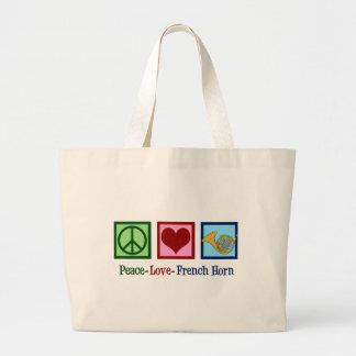 Bolsa Tote Grande Trompa francesa do amor da paz
