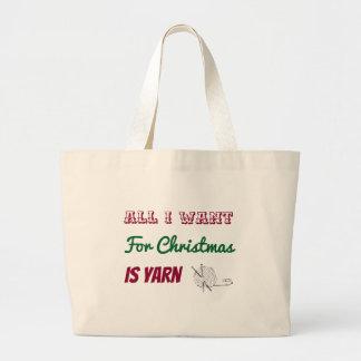 Bolsa Tote Grande Tudo que eu quero para o Natal é saco do fio