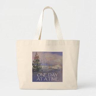 Bolsa Tote Grande Um dia em uma neve das colinas de Tres do tempo