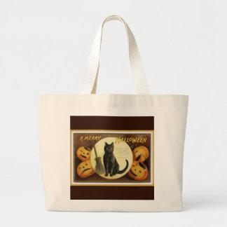 Bolsa Tote Grande Um gato preto e umas abóboras do vintage alegre do