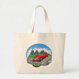 Bolsa Tote Grande Uma ilustração dos desenhos animados de um carro