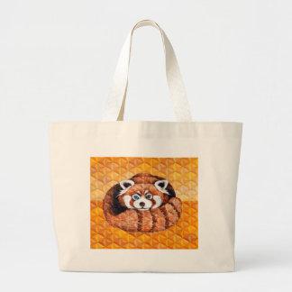 Bolsa Tote Grande Urso de panda vermelha no Cubism alaranjado