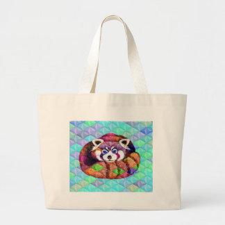 Bolsa Tote Grande Urso de panda vermelha no cubism de turquesa