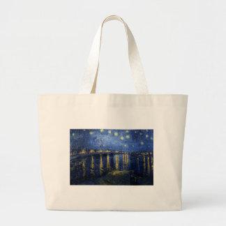 Bolsa Tote Grande Van Gogh: Noite estrelado sobre o Rhone
