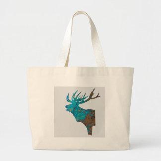 Bolsa Tote Grande veado principal dos cervos nos turquois