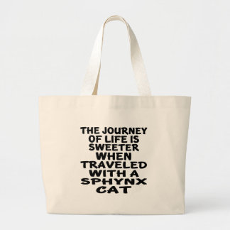 Bolsa Tote Grande Viajado com gato de Sphynx
