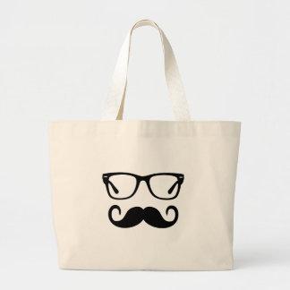 Bolsa Tote Grande Vidros do hipster & bigode do guiador