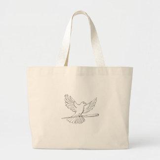 Bolsa Tote Grande Vôo do pombo ou da pomba com desenho do bastão