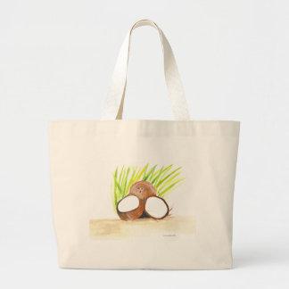 Bolsa Tote Grande Watercolour das frutas dos cocos
