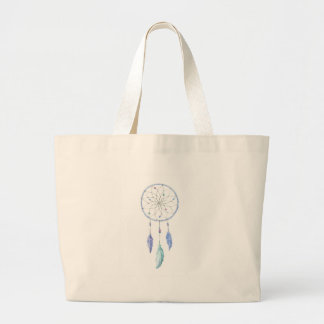 Bolsa Tote Grande Watercolour Dreamcatcher com 3 penas