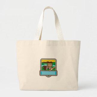 Bolsa Tote Grande Woodcut da crista do carretel de Rod da caixa da