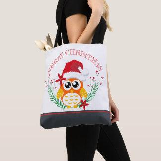 Bolsa Tote Grinalda bonito da coruja do Feliz Natal