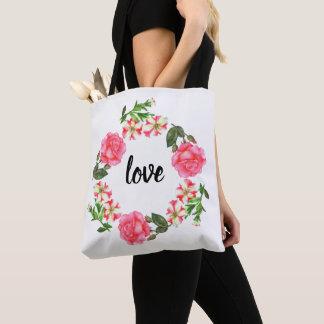 Bolsa Tote Grinalda cor-de-rosa do círculo das flores da