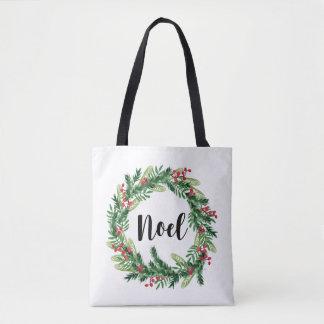 Bolsa Tote Grinalda da aguarela do Natal