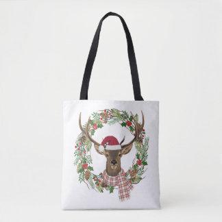 Bolsa Tote Grinalda do feriado da aguarela com cabeça dos