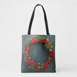Bolsa Tote Grinalda do Natal com fita de veludo