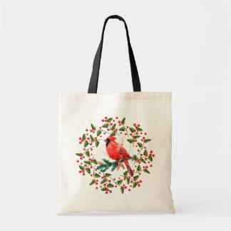 Bolsa Tote Grinalda do Natal & pássaro vermelho