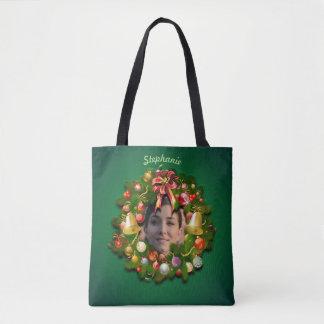 Bolsa Tote Grinalda do Natal personalizada com sua imagem