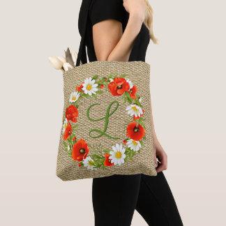 Bolsa Tote Grinalda feita sob encomenda da flor do monograma