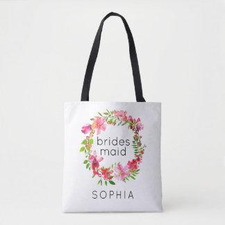 Bolsa Tote Grinalda floral customizável da sacola da dama de