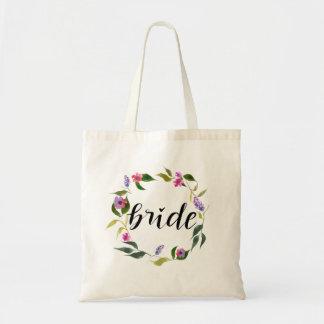 Bolsa Tote Grinalda floral da aguarela escrita à mão do