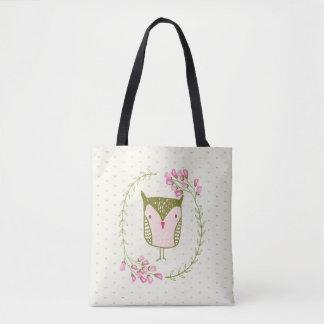 Bolsa Tote Grinalda floral e corações da coruja bonito