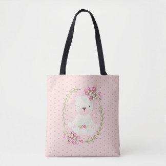 Bolsa Tote Grinalda floral e corações do urso bonito