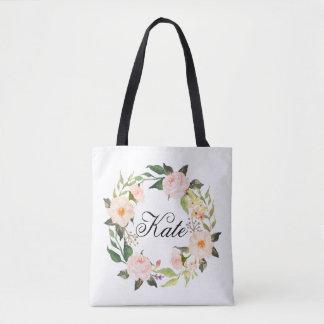 Bolsa Tote grinalda floral elegante personalizada
