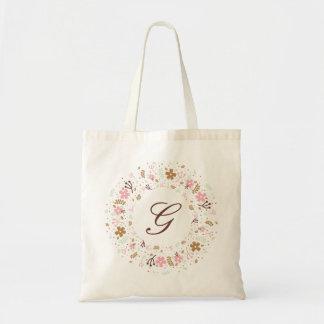 Bolsa Tote Grinalda floral feminino personalizada do