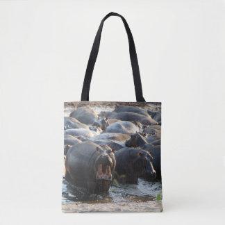 Bolsa Tote Gritando a sacola do hipopótamo
