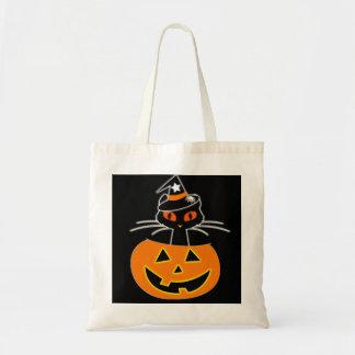 Bolsa Tote Grupo do Dia das Bruxas da bruxa do gato