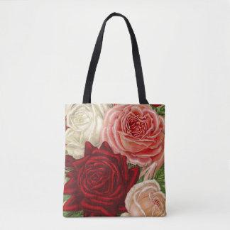 Bolsa Tote Grupo do vintage de branco cor-de-rosa e de rosas