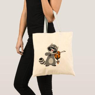 Bolsa Tote Guaxinim bonito dos desenhos animados que joga o