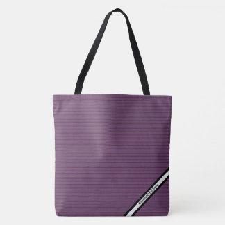 Bolsa Tote HAMbyWG - sacola - ameixa listra o logotipo de W